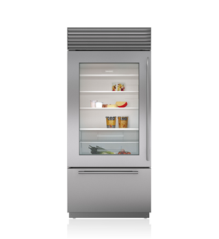 30 built in over and under glass door refrigerator freezer bi 30ug s sub zero appliances - Glass door refrigerator freezer ...