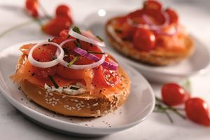 Bagels with lox and dill-scallion cream cheese