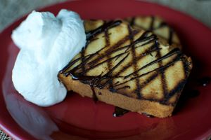 Grilled Poundcake with Chocolate Sauce and Whipped Cream