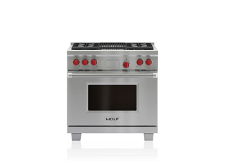 "Wolf 36"" Dual Fuel Range - 4 Burners and Infrared Charbroiler DF364C"