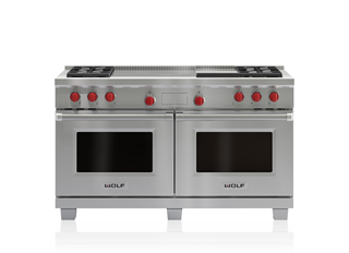 "Wolf 60"" Dual Fuel Range - 4 Burners, Infrared Griddle and French Top DF604GF"