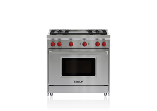 "Wolf 36"" Gas Range - 4 Burners and Infrared Griddle GR364G"