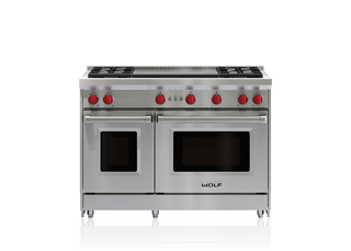 "Wolf 48"" Gas Range - 4 Burners and Infrared Dual Griddle GR484DG"