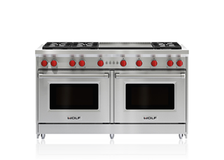 "Wolf 60"" Gas Range - 6 Burners and Infrared Dual Griddle GR606DG"