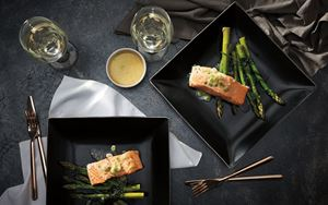 Salmon with Lime Compound Butter and Asparagus